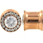 CZ Center & Rim Rose Gold-Tone Plugs