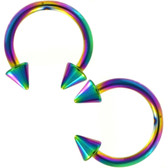 PAIR - Rainbow IP Steel Horseshoe Ring 16G-10G