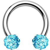Aqua Accents Ferido Ball Steel Horseshoe Ring 16G
