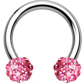 Pink Accents Ferido Ball Steel Horseshoe Ring 16G