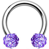Violet Accents Ferido Ball Steel Horseshoe Ring 16G
