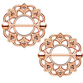 PAIR - Rose Gold-Tone Tribal Shield Nipple Bars