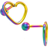 Rainbow PVD Open Heart Shape Cartilage Bar - 16G