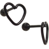 Black PVD Open Heart Shape Cartilage Bar - 16G