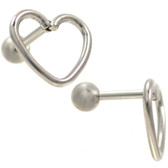 Open Heart Shape Steel Cartilage Bar - 16G