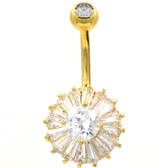 Clear CZ Filled Sunflower Gold-Tone Belly Ring