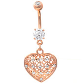 Tribal Pattern Heart Dangle Rose Gold-Tone Belly Ring
