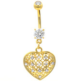 Tribal Pattern Heart Dangle Gold-Tone Belly Ring