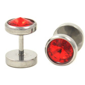 Red Spiked Gem Fake Plug Earrings (0g Look)