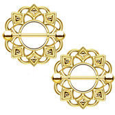 PAIR - Gold-Tone Tribal Shield Nipple Bars