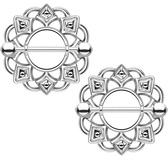 PAIR - Tribal Shield Stainless Steel Nipple Bars