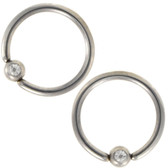PAIR - Annealed Clear Accent Fixed Bead Hoop (18g-14g)