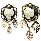 "White Kitty Cat Triple Leaf Dangle Plugs (2g-1"")"