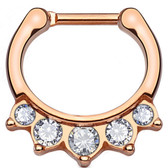 5 Accent Hanger Style Rose Gold-Tone Septum Clicker