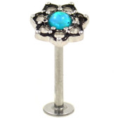 Lotus Flower Teal Accent Steel Labret Bar - 16G