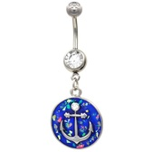 Sailor Celebration Anchor Glitter Dangle Belly Ring