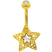 Ornate Star & CZ Gold-Tone Belly Ring