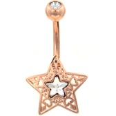 Ornate Star & CZ Rose Gold-Tone Belly Ring