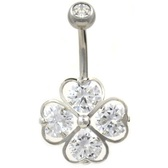 4 CZ Heart Lucky Shamrock Steel Belly Ring