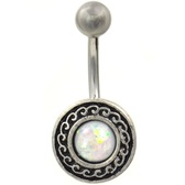Vintage Shield White Opal Resin Center Belly Ring
