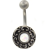 Filigree Shield White Opal Resin Center Belly Ring