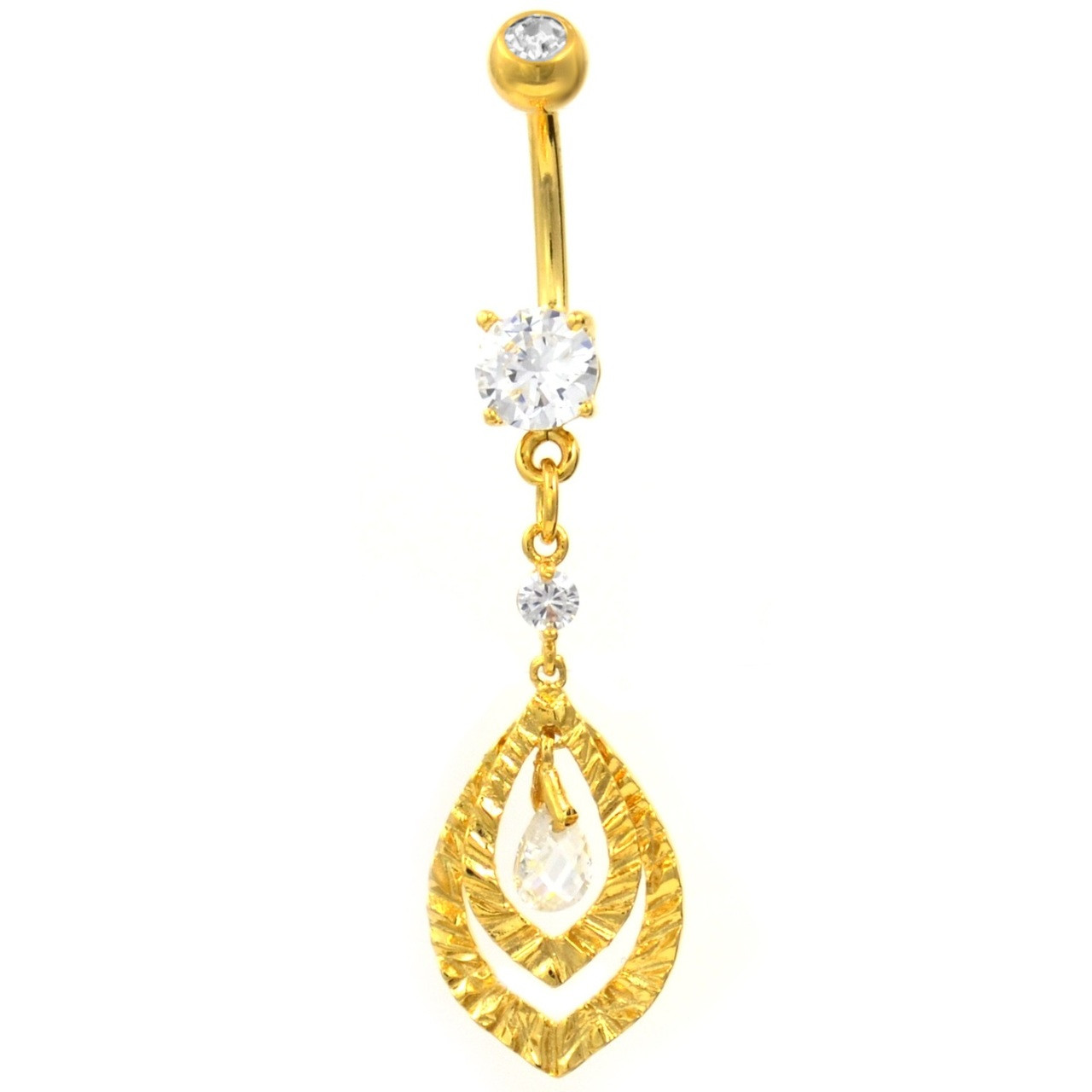 Elegant Two Hoop Dangle W Cz S Gold Tone Belly Ring