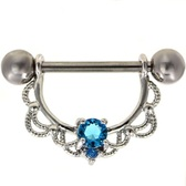 PAIR - Aqua Double Gem Filigree Nipple Barbells