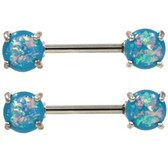 PAIR - Opalescent Aqua Glitter Nipple Rings Barbells