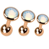 Set of 3 Opalite Top Rose Gold IP Cartilage Barbells