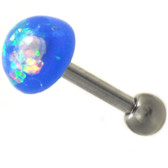 Blue Resin Opal Dazzle Dome Cartilage Bar - 16G