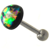 Green Resin Opal Dazzle Dome Cartilage Bar - 16G