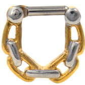Gold IP Steel Chain Link Septum Clicker 16G/14G