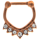 V Shape Rose Gold-Tone Clear Crystal Septum Clicker