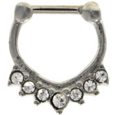 V Shape Steel Clear Crystal Septum Clicker