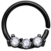 Petite Triple CZ Black IP Septum Cartilage Hoop 18G