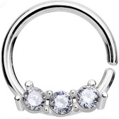 Petite Triple CZ Steel Septum Cartilage Hoop 18G
