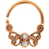 Ornate Butterfly Rose-Gold Septum Cartilage Hoop 16G