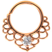 CZ Lotus Filigree Rose-Gold Septum Cartilage Hoop 16G