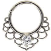 CZ Lotus Filigree Septum Cartilage Hoop 16G