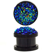 "Raw Blue Glitter Cluster Black Steel Plugs (2g-5/8"")"