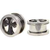 "Celtic Cross Steel Mirror Background Plugs (0g-5/8"")"