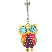 Flashy Gold and Steel Owl Belly Ring w/Aqua Eyes