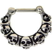 Stainless Steel skull Heads Septum Clicker