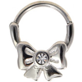 Clear CZ Fancy Bow Steel Septum Clicker