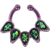 Green Quinary Teardrop Purple Fake Septum Ring