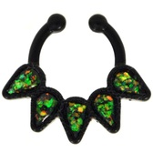 Green Quinary Teardrop Black Fake Septum Ring