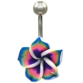 Tropical Flower Non-Dangle Belly Ring
