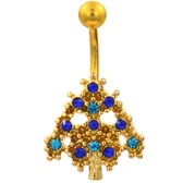 Blue/Aqua Accented Tree Gold-Tone Belly Ring