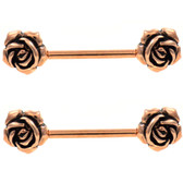 Vintage Style Roses Rose Gold-Tone Nipple Barbells