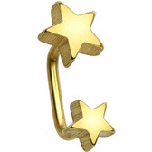 Double Star Gold IP Steel Eyebrow Lip Ring 16g 5/16""